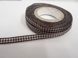 Chestnut dark Brown 2 metres or full roll x 5mm Gingham Ribbon Double Sided check UK